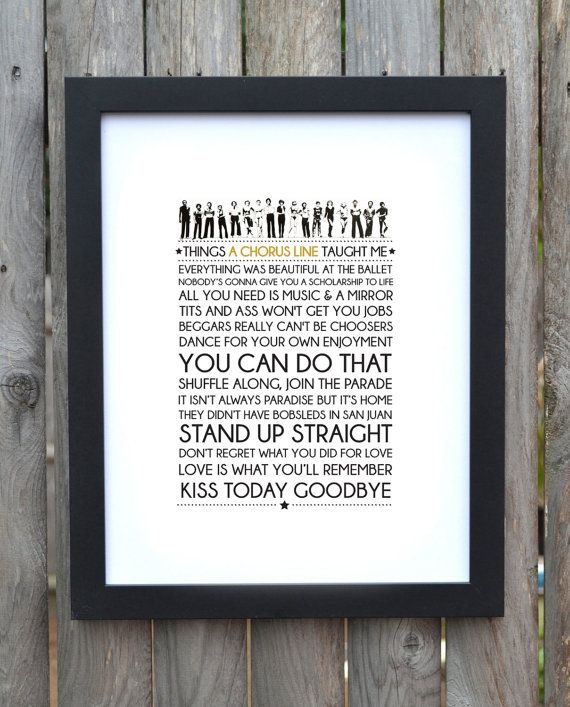 Broadway Musical typography print A Chorus by TheGodmotherDesigns