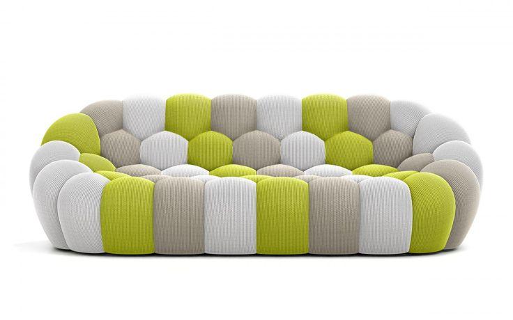BUBBLE Sofa Upholstered In Multicoloured Techno 3D Fabric   Canapé BUBBLE   By Sacha Lakic Design