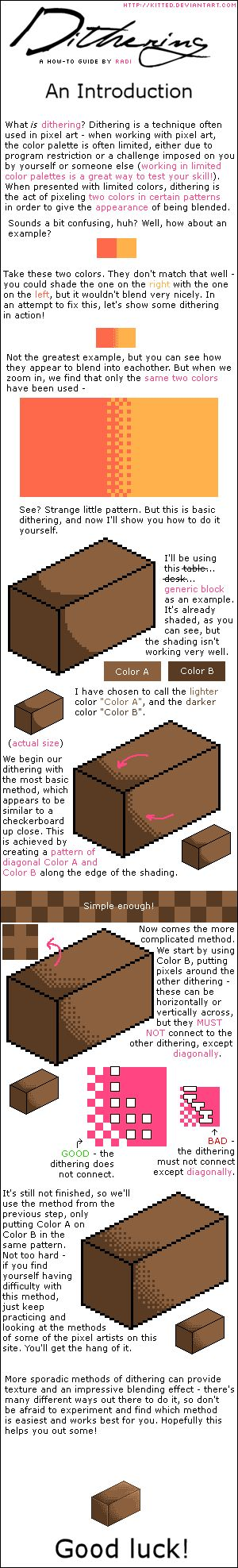 DITHERING TUTORIAL - Basics by kitted.deviantart.com on @deviantART