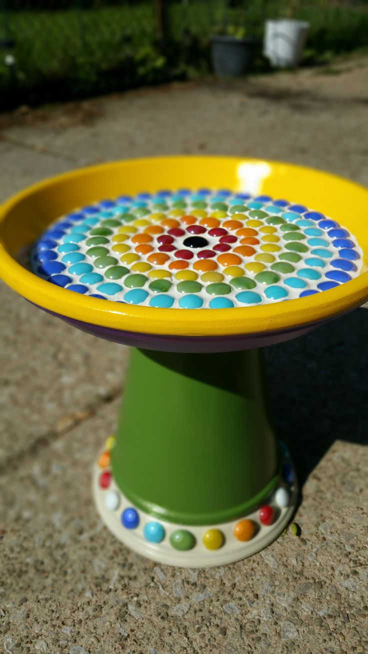 My mosaic bird bath from a terra cotta  pot and two saucers.