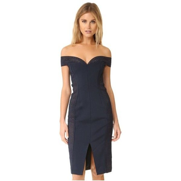 Nicholas Bandage Cold Shoulder Dress (£490) ❤ liked on Polyvore featuring dresses, navy, mesh jersey, nicholas dress, navy dress, cold shoulder dress and navy jersey