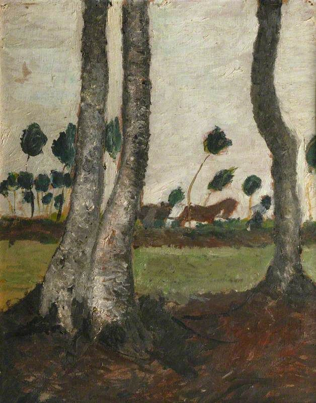 blastedheath: Paula Modersohn-Becker (German, 1876-1907), Landscape with Windblown Trees. Oil on board, 48 x 39 cm.