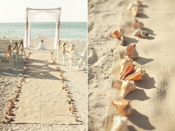 beach wedding aisle, line with shells, simple and beautiful