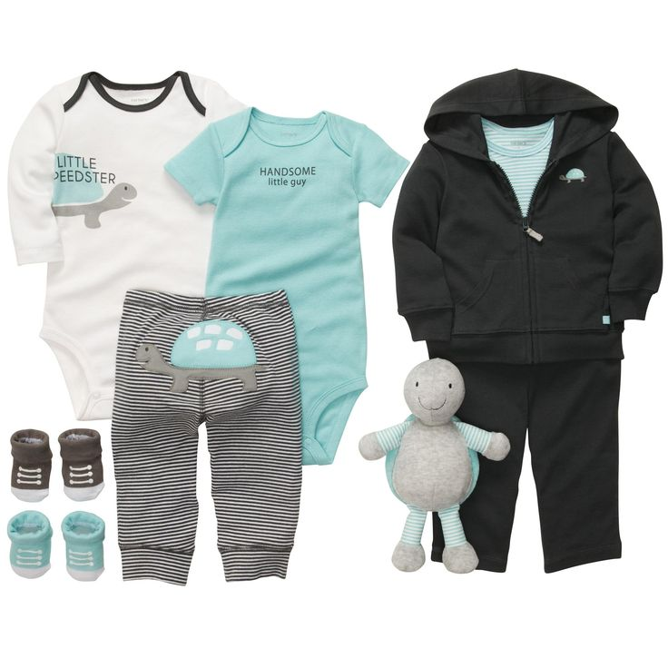"My favorite Carter's clothing line ""Little Speedster"" gray, white & icy blue"
