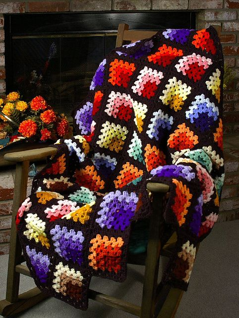 Crochet ~ Stained Glass Afghan.  Just started this one tonight with scrap yarn.  Simple and is going to be beautiful!