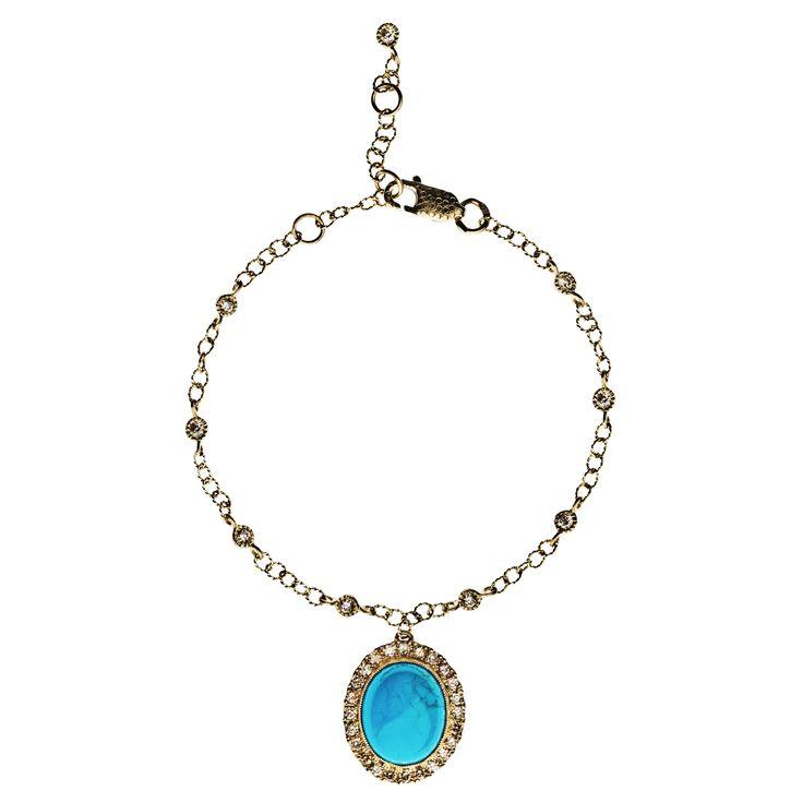 Bracelet 361/YG/TU | Turquoise / Diamond / Yellow Gold
