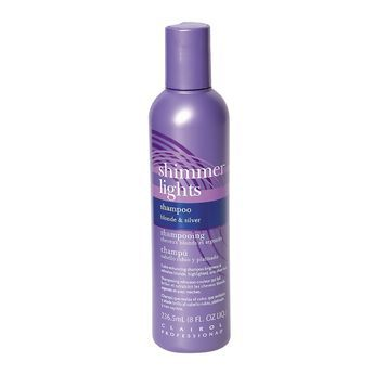 """Clairol Shimmer Lights Conditioning Shampoo.   I've been using this FOREVER to keep my blonde hair from looking brassy.  I I use it for my 1st lathering-up, then for my 2nd lathering I use whatever my """"favorite"""" shampoo of the moment is."""