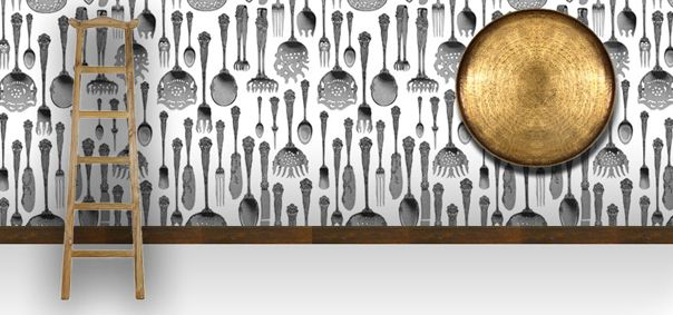 Lovely antique cutlery wallpaper design by Michael Chandler for Robin Sprong │The Design Tabloid