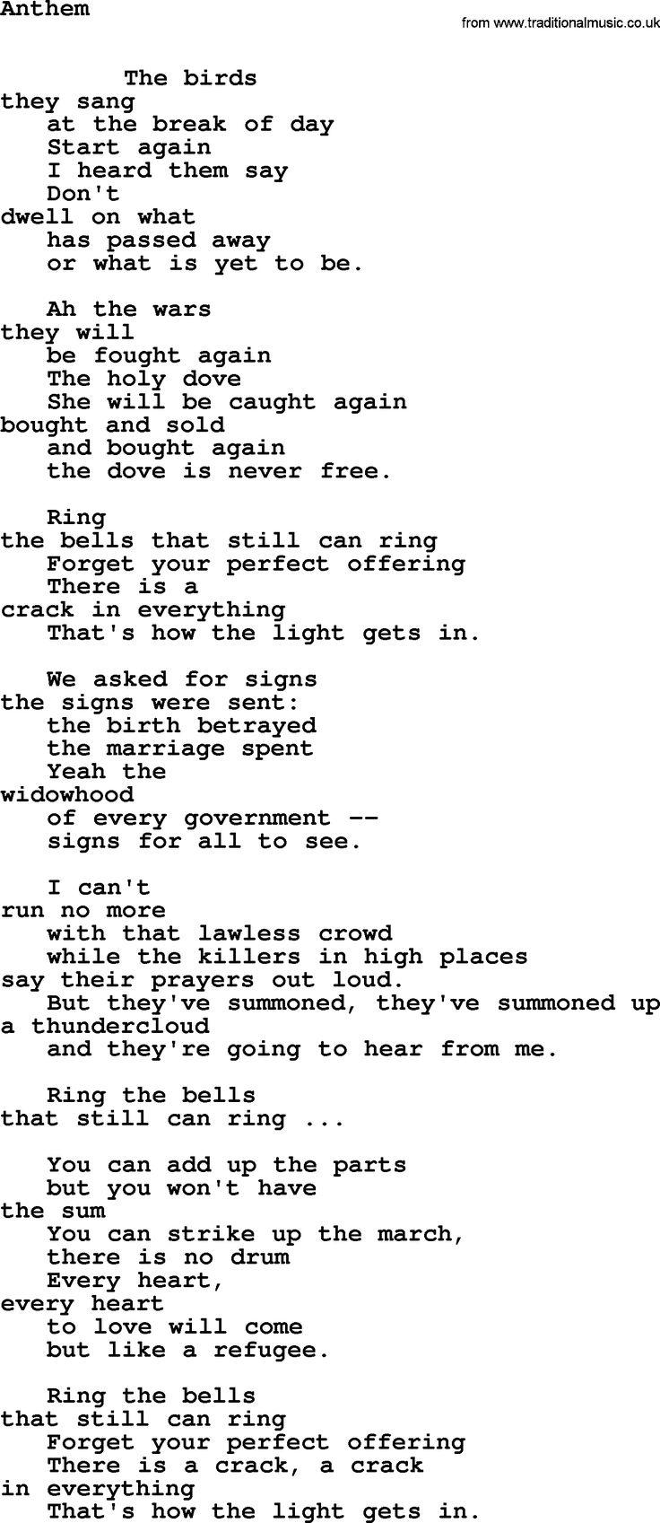 Leonard Cohen song Anthem-leonard-cohen.txt lyrics