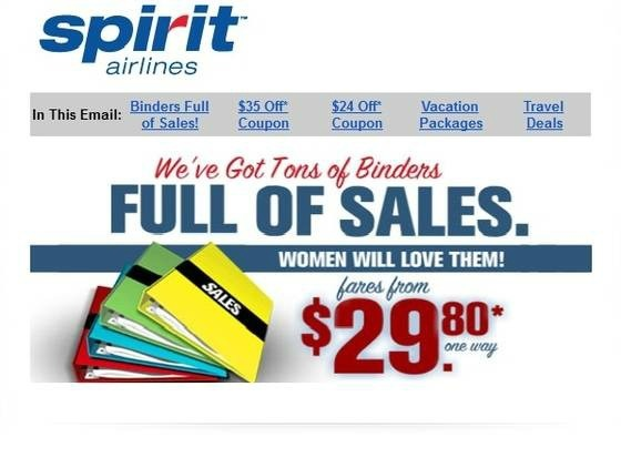 """Never one to miss out on a pop culture trend, Spirit Airlines has coopted Binder-mania with a """"Binders Full of Sales"""" promotion.  The deal, which the airline announced on its website Wednesday, is a reference to Mitt Romney's much-lampooned """"Binders full of women"""" remark during Tuesday night's debate. It hasn't even been 24 hours since the remark was made in the debate and already a """"Binders Full of Women"""" Facebook Page has more than 300,000 fans, which is more than IBM has."""