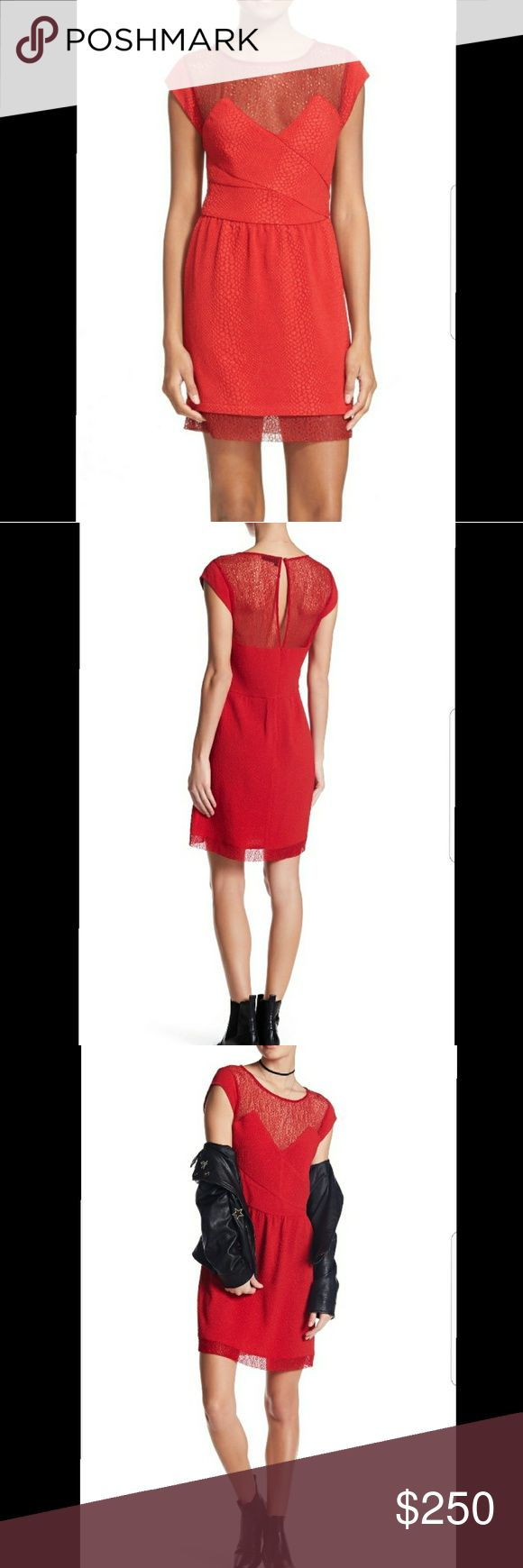 """{THE•KOOPLES} Relief Crepe & Lace Dress NO TRADES! Size: Large Color: Red Retail Price: $320 Measurements(measurements taken laying flat, side to side): Chest 18""""; Waist 16""""; Length ~37""""  Rich color and fanciful texture play define a cap-sleeve minidress fashioned from snake-embossed stretch crepe and softened by a gossamer lace yoke and hemline.  - Jewel neck with illusion sweetheart neckline - Cap sleeves - Hidden back-zip closure; keyhole with button-and-loop closure - Snake embossed…"""