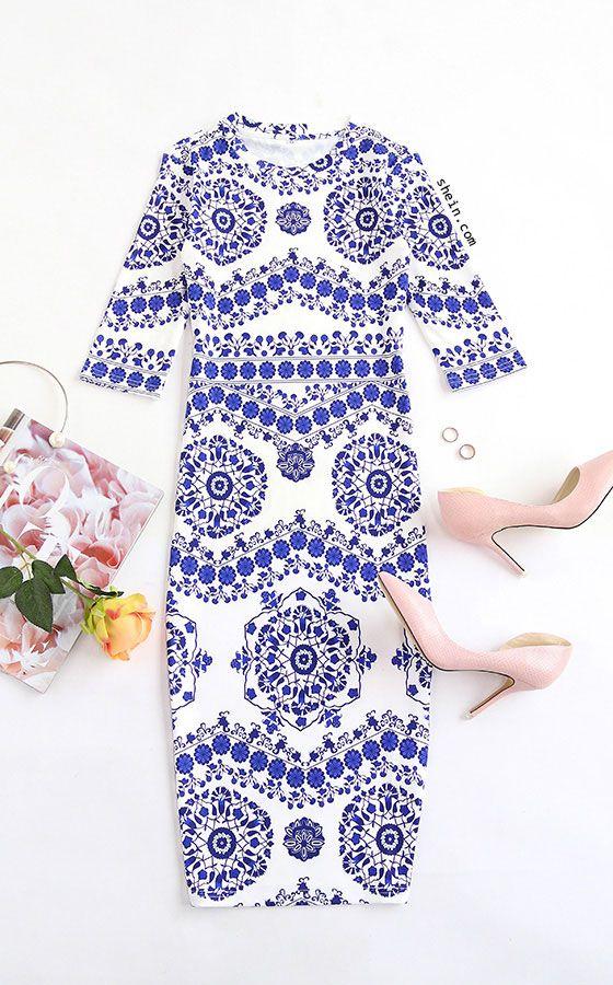 Blue And White Porcelain Print Pencil Dress