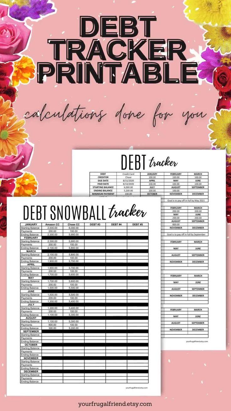 Debt Tracker Printable, Monthly Debt Tracker, Debt