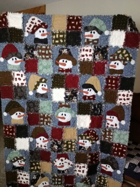 Raggy flannel snowman, learned fusible applique