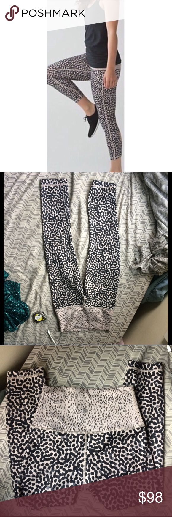 "Lululemon high rise wunder under leopard crops Authentic leopard Lululemon high rise roll down wunder under crops. Slightly different from the stock photo. Sorry I don't model. Good condition. Size tag was removed and these don't have a size dot, they're a size 2 though. Price somewhat firm as these are harder to find. Inseam 21"", front rise 9"" lululemon athletica Pants Leggings"