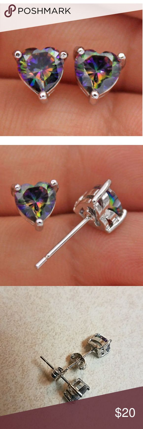 Mystic Rainbow topaz earrings Stunning lab created rainbow topaz 18k white gold filled  6mm Pierced  Brand new untagged  PERFECT MATCH WITH RAINBOW TOPAZ RING Perfect for Christmas Jewelry Earrings
