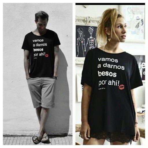 """Camiseta """" vamos a darnos besos por ahí. ..!Aire Retro."""