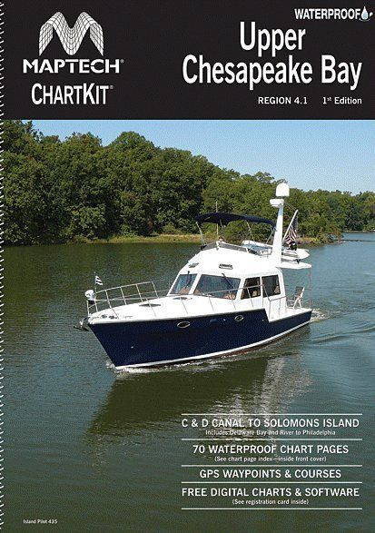 """The Upper Bay from Havre de Grace to Solomons Island, including detailed coverage of all popular areas. 70 pages of full-color charts, waypoints for GPS, courses and distances,12 X 17"""". WATERPROOF!"""