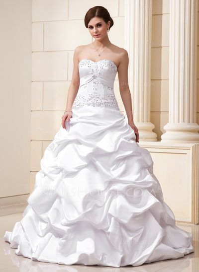 Wedding Dresses - $230.49 - Ball-Gown Sweetheart Court Train Satin Wedding Dress With Ruffle Lace Beadwork Sequins (002012635) http://jjshouse.com/Ball-Gown-Sweetheart-Court-Train-Satin-Wedding-Dress-With-Ruffle-Lace-Beadwork-Sequins-002012635-g12635/?utm_source=crtrem&utm_campaign=crtrem_CA_26938