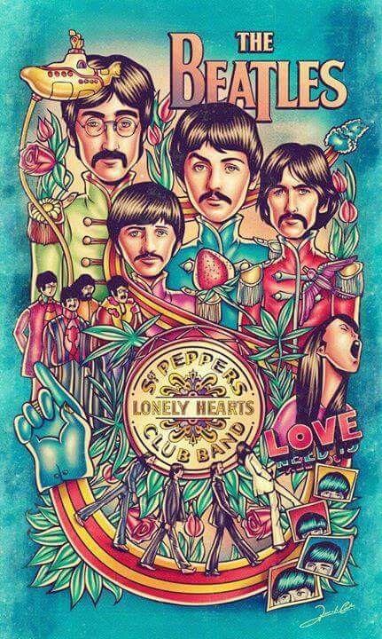 ☮ American Hippie Art ☮ Beatles music concert poster