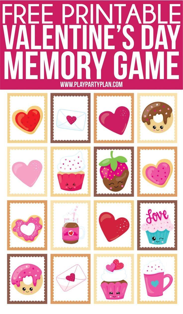 Free Printable Valentine S Day Memory Game Valentines Games Valentines Printables Free Valentines School