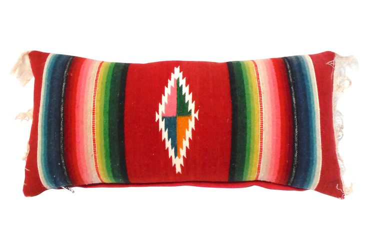 Pillow made with vintage Mexican serape. Red linen back, zipper closure.