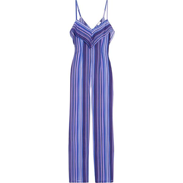 La Perla Striped stretch-silk jumpsuit ($1,000) ❤ liked on Polyvore featuring jumpsuits, blue, multi color jumpsuit, jump suit, multi colored jumpsuit, blue jumpsuit and blue wide leg jumpsuit