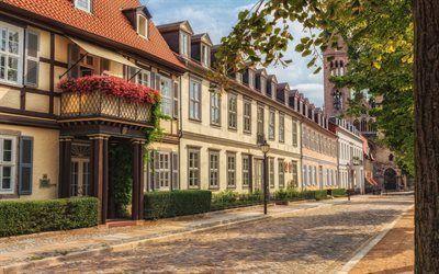 壁紙をダウンロードする 古民家, 石畳, halberstadt, ドイツ