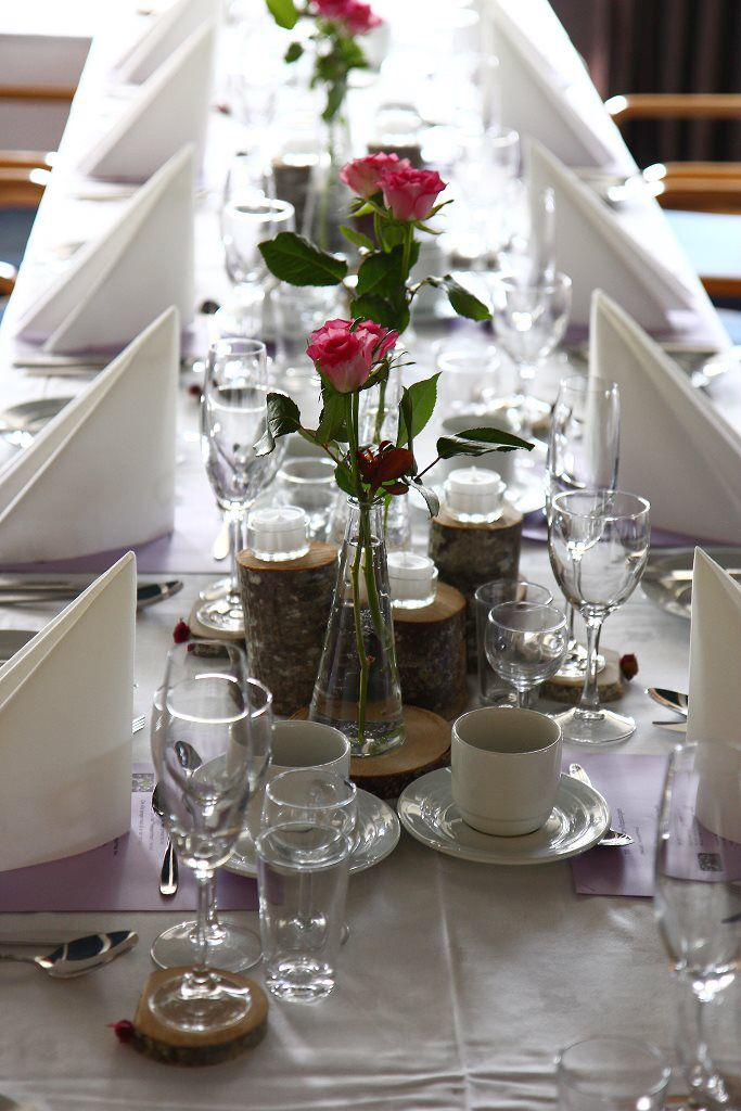 Wedding! Diy centerpiece decoration with rustic wood, pink roses and candles.
