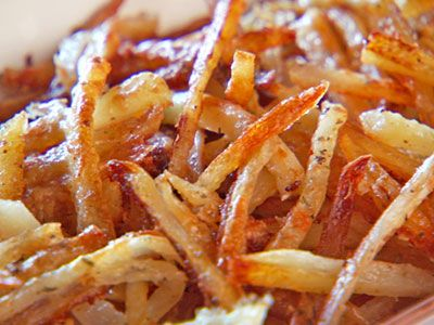 Baked fries... Soak in salt water first, makes them crispy without having to burn them.