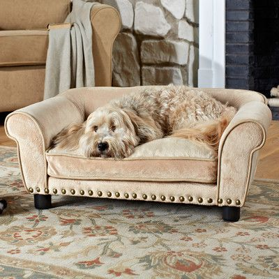 """Features:  -Nailhead trim.  -This item is suitable for pets up to 30 lbs.  Color: -Carmel. Dimensions:  Overall Height - Top to Bottom: -12"""".  Overall Width - Side to Side: -34"""".  Overall Depth - Fron"""