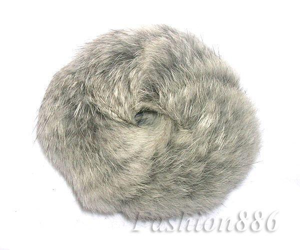100% Real Natural Soft Rabbit Fur Hair Scrunchie Hair Ponytail RD04