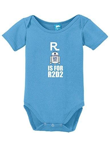 R is for R2 D2 Onesie Funny Bodysuit Baby Romper Light Blue 18-24 Month, Infant Girl's