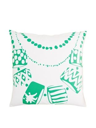 71% OFF Twinkle Living Necklace Pillow Cover, White/Green, 18