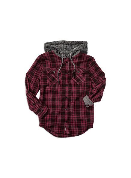 Boyswear Oversize Hooded Check Shirt Zinfandel shirt