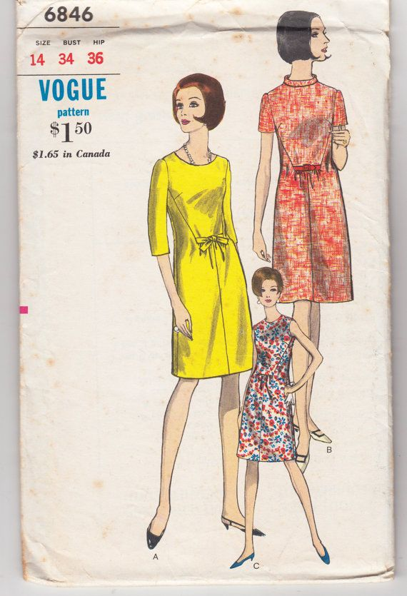 Vintage Sewing Pattern 1960's Ladies' Dress Vogue 6846 by Mrsdepew