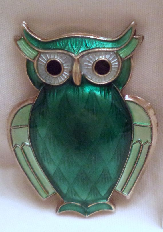 Owl Brooch by David Andersen Vintage Norwegian Green by Zeppola