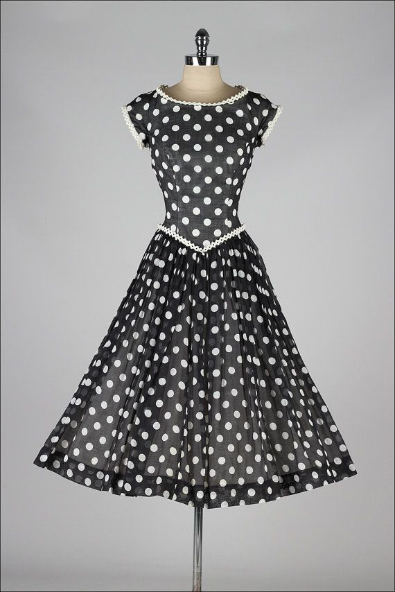 vintage 1950s dress . Pat Premo . black white by millstreetvintage