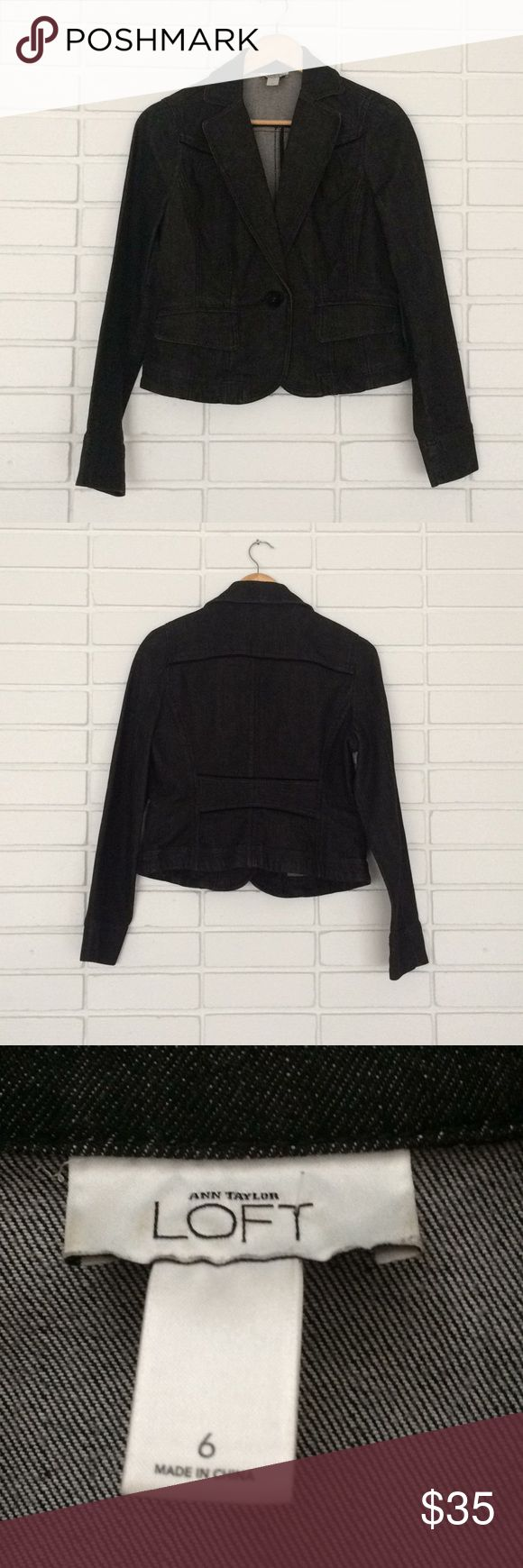 Loft Black Denim Blazer Loft Black Denim Blazer! Size 6. Excellent condition! Heavy, quality construction! Great wardrobe staple piece - would look great with a floral blouse! LOFT Jackets & Coats Blazers
