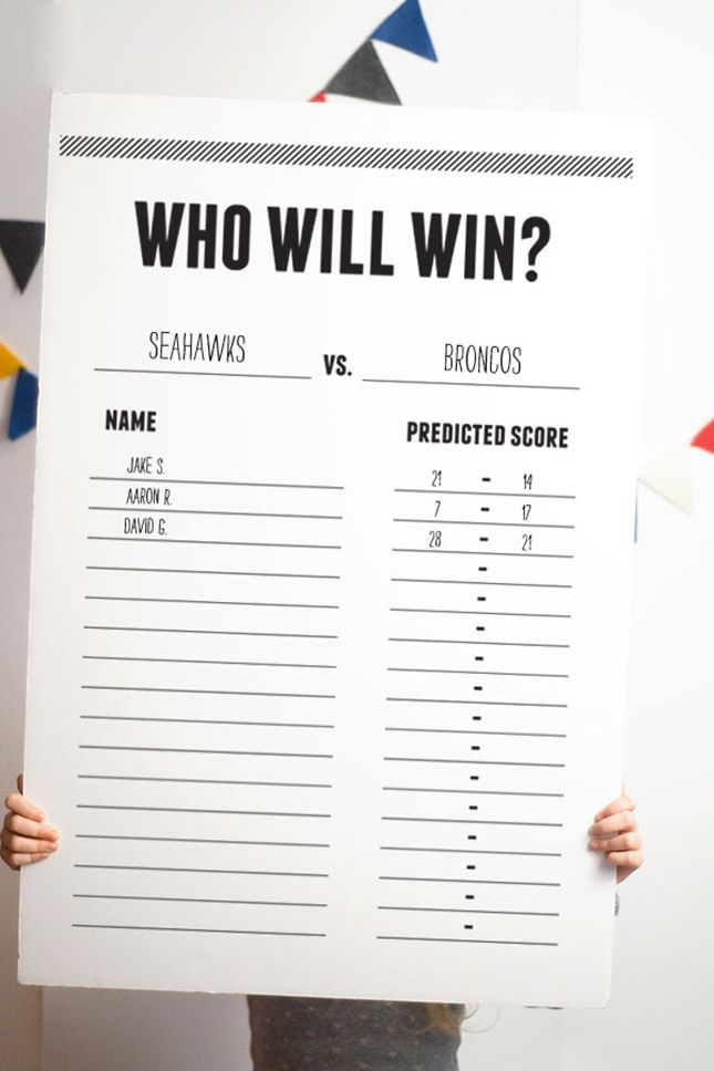 Add a competitive game to your Super Bowl party with a final score predictions board.