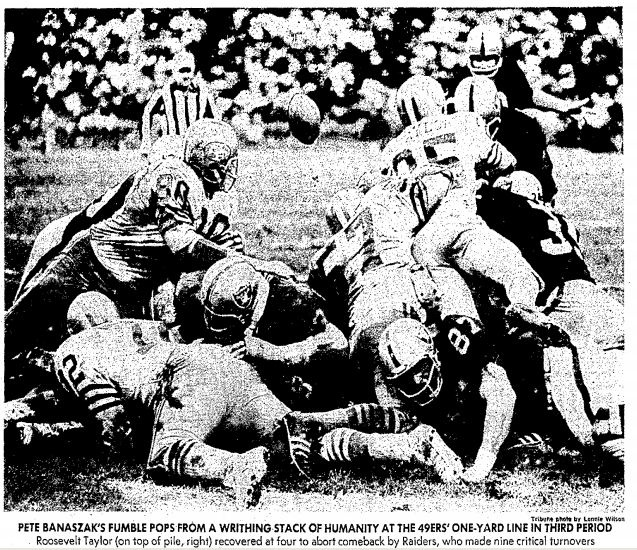 Dec. 20, 1970: 49ers 38, Raiders 7. All fall the drama raged -- would my dad use his 2nd Raiders season ticket to take me to season final vs. the 49ers, or would he waste it on someone else? After letting me twist in the wind for weeks, he gave me the nod. Awful day -- it rained nonstop, the stupid 49ers won in a rout to clinch the NFC West, and when we got home we found my mom had unaccountably been  able to watch it on TV via some loophole in the NFL's blanket home blackout policy.