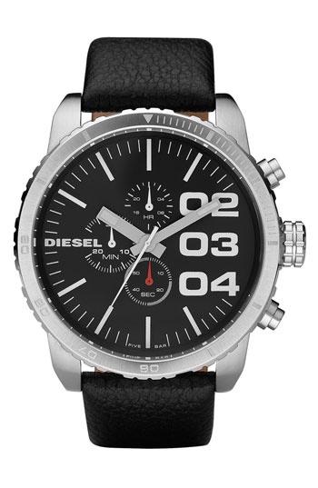 Diesel Round Chronograph Watch DZ4210: Leather Straps Watches, Black Leather, Men Accessories, Wrist Watches, Watches Franchi, Diesel Watches, Diesel Francs, Chronograph Watches, Men Watches