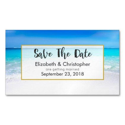 #Tropical Beach and Turquoise Sea Save The Date Business Card Magnet - #travel #trip #journey #tour #voyage #vacationtrip #vaction #traveling #travelling #gifts #giftideas #idea