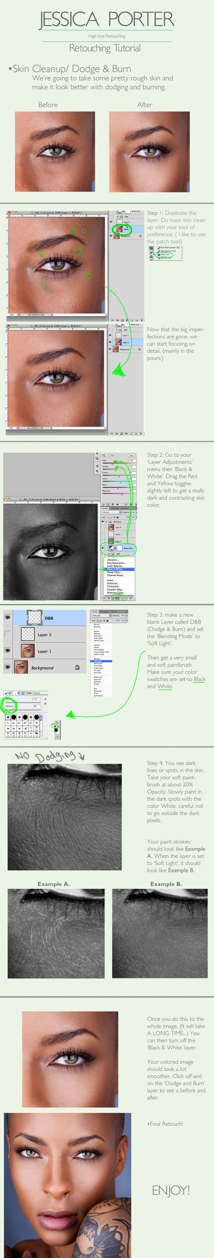 Advanced Skin Retouching Tutorial by ~PorterRetouching on deviantART. Really good tutorial, must see this.