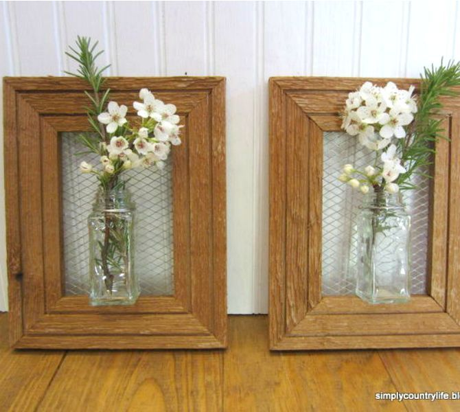s 25 awesome things you didn t know you could do with old picture frames, crafts, repurposing upcycling, Hang vases from your walls
