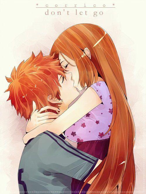 Ichigo and Orihime - I'm not a IchiHime shipper but I gotta admit that this was cute - Jocie