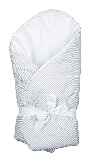 Vizaro - BABYH�RNCHEN / Einschlagdecke / Wickeltuch / Decke / Pucksack - verpolstert, sehr weich - 100% Baumwolle - hergestellt in der EU mit Kontrolle gegen sch�dlichen Substanzen - SICHERES PRODUKT: das Baby kann ohne Risiko daran lutschen - Graue Linien