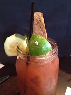 32 ounce Bloody Mary with everything but the kitchen sink.  At The Avenue in Tallahassee, Florida