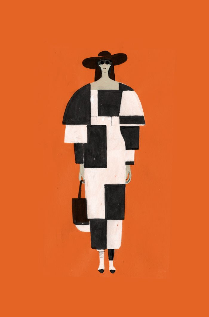 """Dadu Shin - Personal work, Fashion Illustration""  Cubism introduced the use of geometric shapes to fashion and textiles"