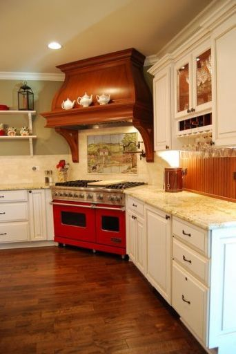 Expensive amish kitchen cabinets with build in hardware for Brightly painted kitchen cabinets